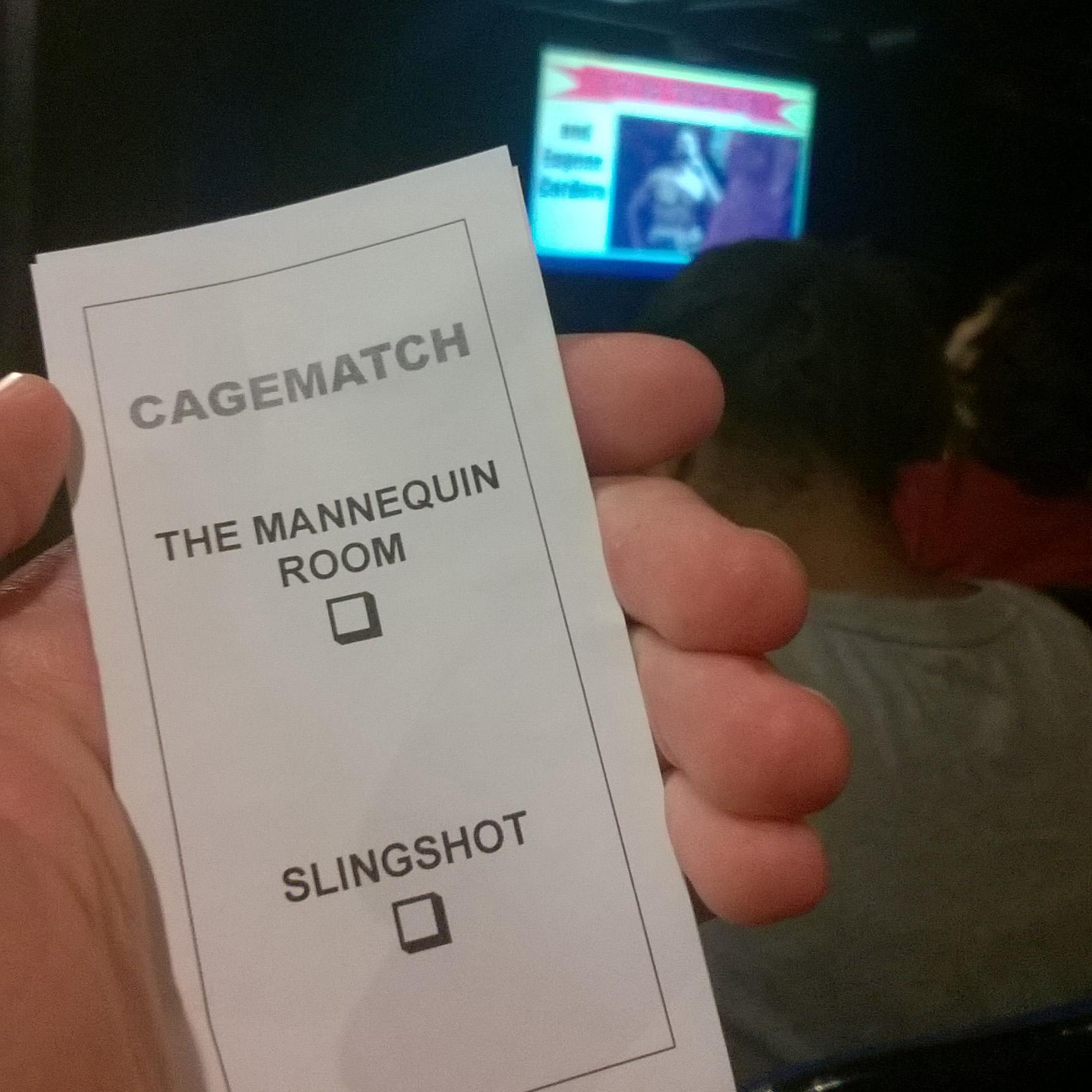 Kartka do głosowania w Cage Match